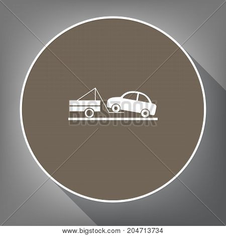 Tow truck sign. Vector. White icon on brown circle with white contour and long shadow at gray background. Like top view on postament.