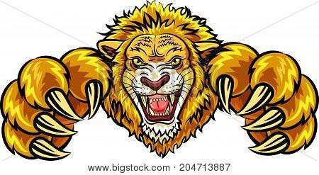 Vector illustration of angry lion mascot isolated on white background