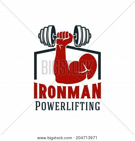Gym and fitness sport club symbol. Muscular arm of bodybuilding sportsman with dumbbell isolated icon for powerlifting sporting emblem and health themes design