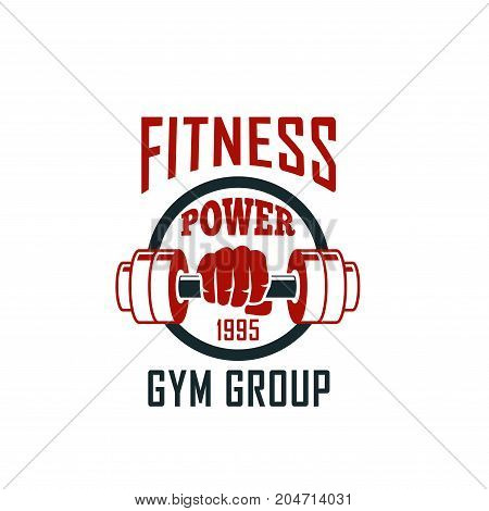 Gym isolated emblem with dumbbell in arm. Fitness sport club badge of bodybuilder with iron barbell for powerlifting and weightlifting competition, health and sport themes design