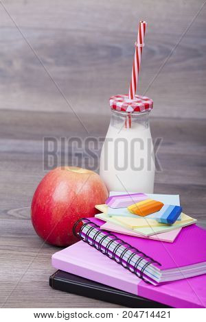 School And Office Accessories On A Wooden Background