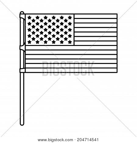 flag united states of america in flagpole and monochrome silhouette vector illustration
