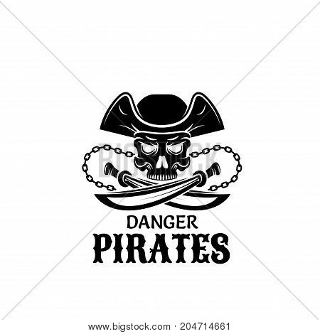 Pirate captain skull isolated symbol. Piracy symbol of skeleton in captain hat with crossed sword and anchor chain for pirate ship flag, tattoo, t-shirt print and Halloween themes design