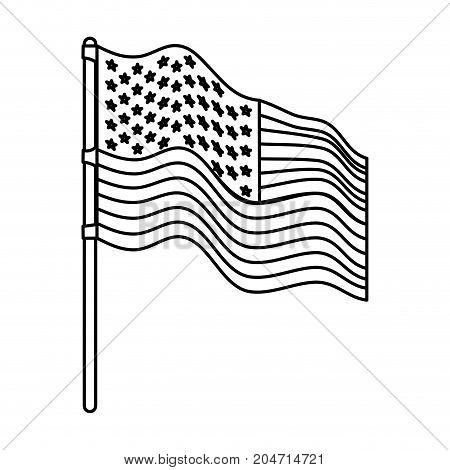 flag united states of america in flagpole waving side monochrome silhouette vector illustration