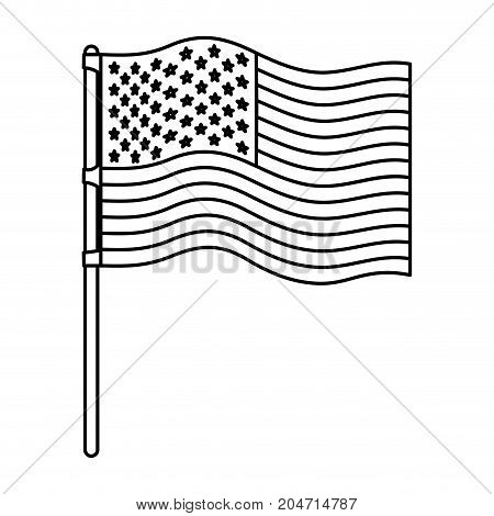 flag united states of america in flagpole wave monochrome silhouette vector illustration