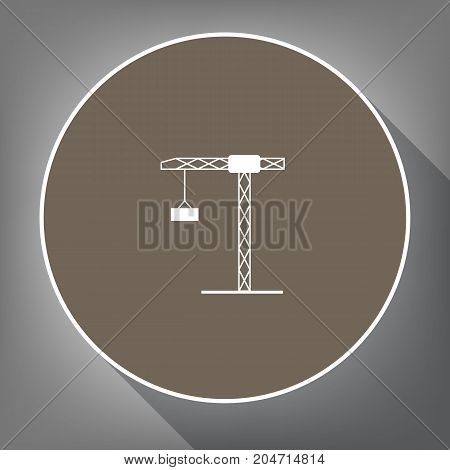 Construction crane sign. Vector. White icon on brown circle with white contour and long shadow at gray background. Like top view on postament.