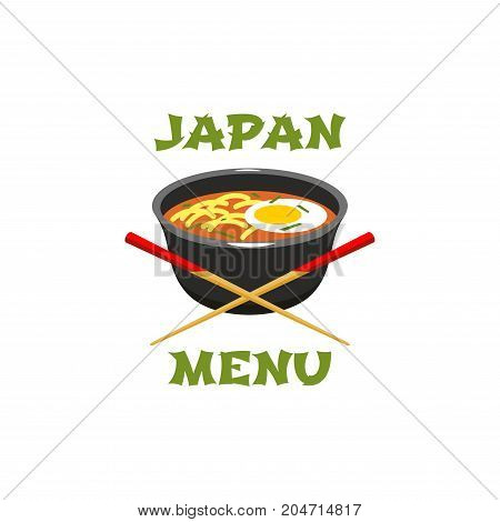 Japanese menu icon with asian food. Japanese noodle soup ramen in bowl with egg, green onion and chopsticks isolated symbol for asian cuisine restaurant emblem, food delivery service design