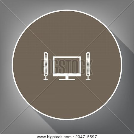 Home theater sign. Vector. White icon on brown circle with white contour and long shadow at gray background. Like top view on postament.