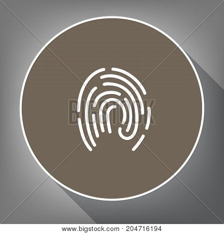 Fingerprint sign illustration. Vector. White icon on brown circle with white contour and long shadow at gray background. Like top view on postament.
