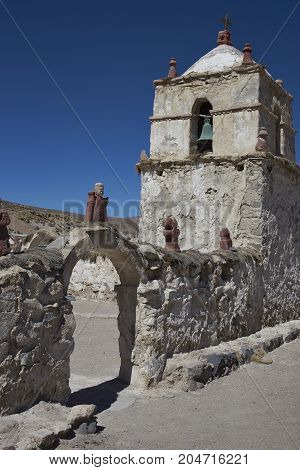 Historic 17th century church in the small village of Parinacota, located at an elevation of 4,400 metres in Lauca National Park and on the altiplano of northern Chile.