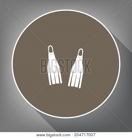 Diving flippers sign. Vector. White icon on brown circle with white contour and long shadow at gray background. Like top view on postament.