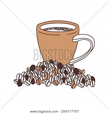 porcelain cup and beans of coffee silhouette color section on white background vector illustration