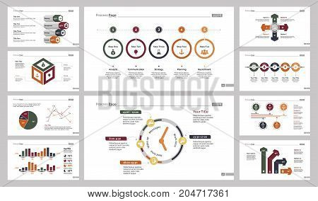Infographic design set can be used for workflow layout, diagram, annual report, presentation, web design. Business and planning concept with process, bar, timing, line, pie and percentage charts.