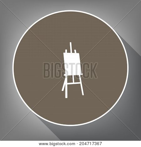 Easel sign. Vector. White icon on brown circle with white contour and long shadow at gray background. Like top view on postament.