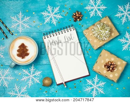 Notebook With Wish List ,gift Boxes And Coffee Cup