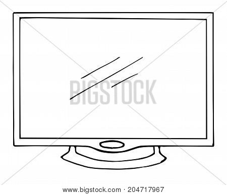 Sketch TV isolated on a white background. Monitor. Vector illustration.