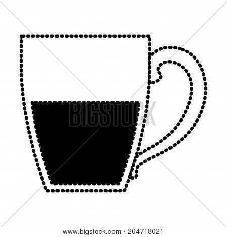 porcelain mug of coffee with handle silhouette dotted monochrome on white background vector illustration