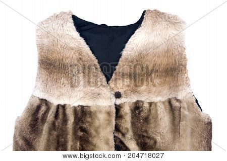 Brown faux fur west isolated on white background