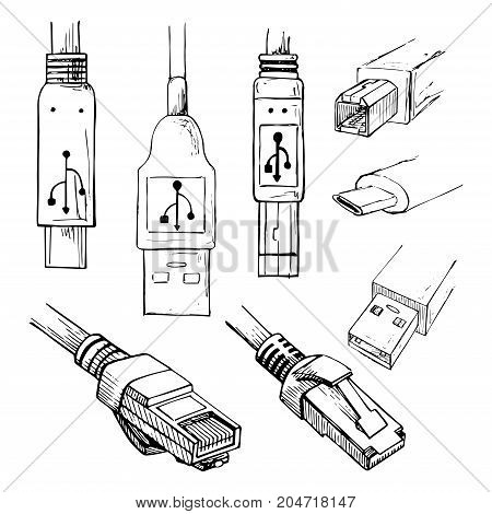Set of data connector plug: different USB types and RJ45 8P8C . Collection of vector illustration in sketch style.