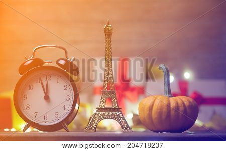 Pumpkin And Alarm Clock With Eiffel Tower Toy