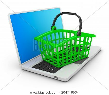 Basket for purchases on the laptop. 3d rendering.