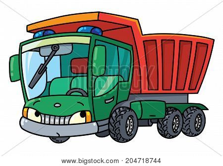 Dump truck or Lorry. Small funny vector cute car with eyes and mouth. Children vector illustration