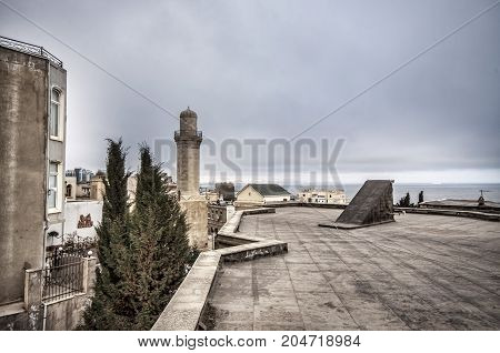 Panoramic View On Baku City And Flame Towers From Old City In Baku, Capital Of Azerbaijan Republic