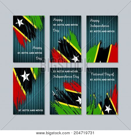 St. Kitts And Nevis Patriotic Cards For National Day. Expressive Brush Stroke In National Flag Color