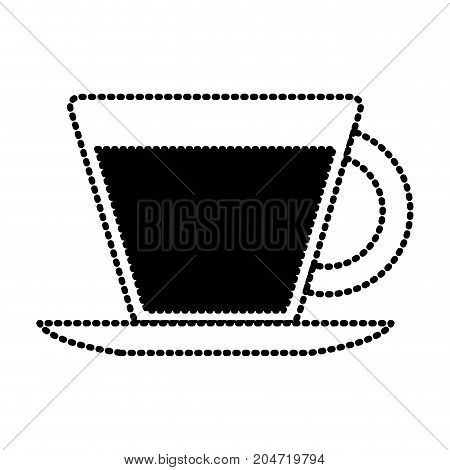 porcelain cup on dish silhouette dotted monochrome on white background vector illustration