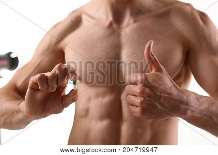 Athlete Bodybuilder Takes Dope In The Form Of Tablets Form Of Pharma Rapid Progress In Muscle Develo