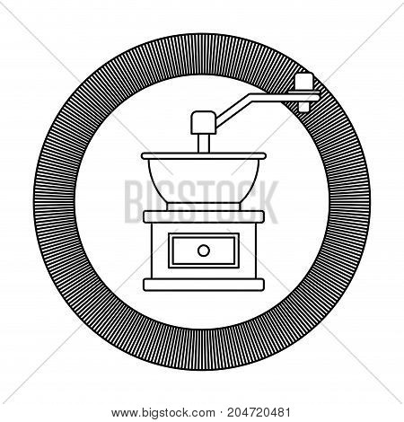 circular logo shield decorative of coffee grinding with crank striped silhouette on white background vector illustration
