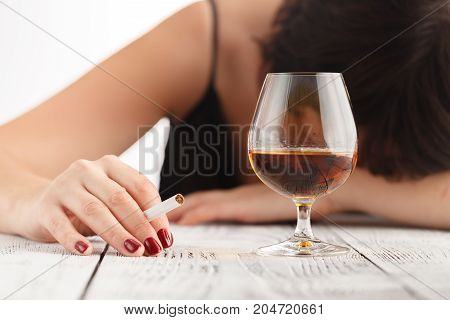 Woman Alcoholism Is Social Problem. Female Drinking Of  Whiskey Is Cause Of Nervous Stress
