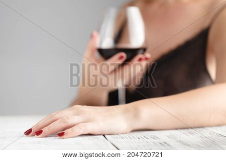 Woman With Nail Maniсure Drink Red Wine