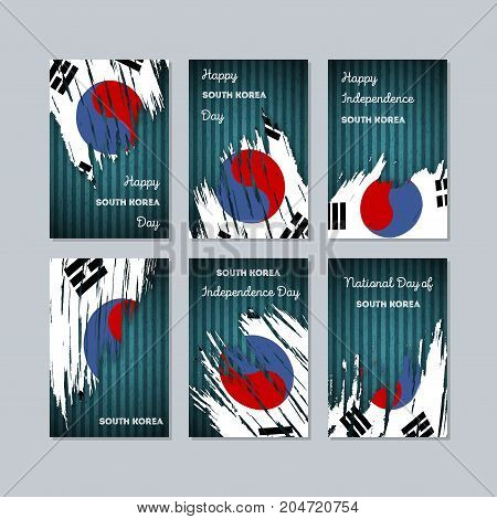 South Korea Patriotic Cards For National Day. Expressive Brush Stroke In National Flag Colors On Dar