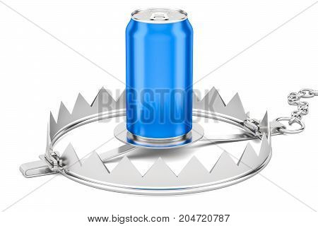 Caffeine or alcoholism dependence concept. Metallic drink can in trap 3D rendering isolated on white background