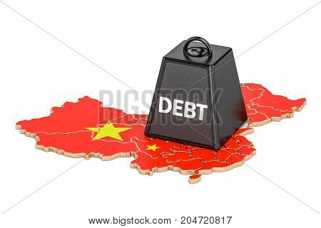 Chinese national debt or budget deficit financial crisis concept 3D rendering