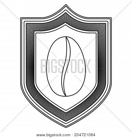 logo emblem decorative of bean coffee striped silhouette on white background vector illustration