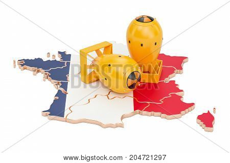 French map with nuclear weapon concept 3D rendering