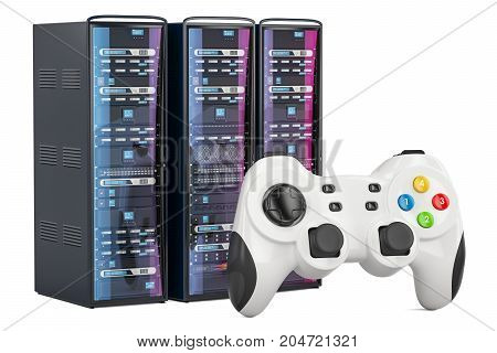 Game Servers concept with gamepad 3D rendering isolated on white background