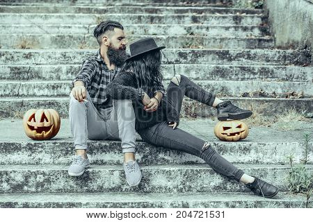 Halloween Bearded Hipster Smoking Cigarette