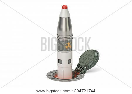 Missile launches from its underground silo launch facility 3D rendering