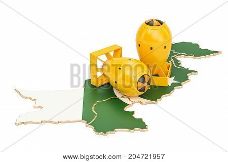 Pakistani map with nuclear weapon concept 3D rendering