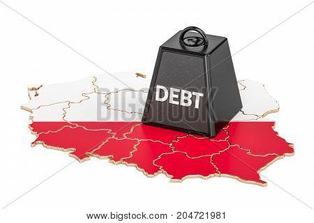 Polish national debt or budget deficit financial crisis concept 3D rendering