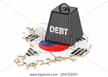 South Korea national debt or budget deficit financial crisis concept 3D rendering