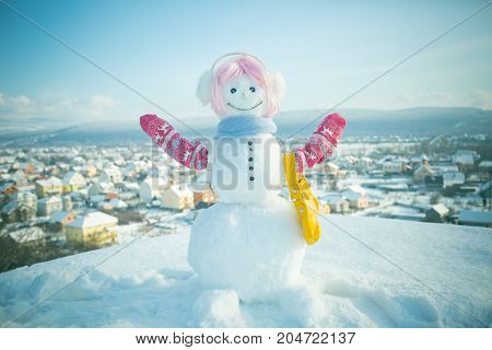 Snowman In Pink Wig, Mittens And Scarf.