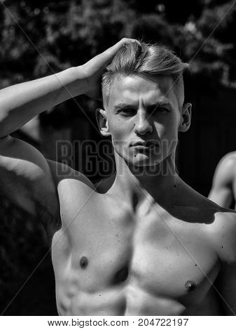 Young Man With Bare Torso