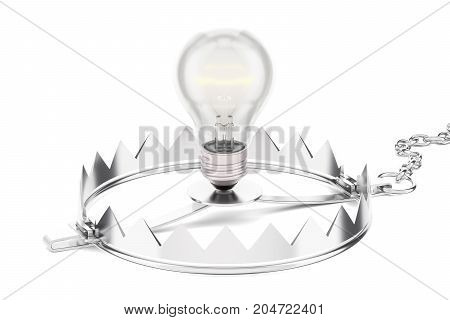 Trap with lightbulb 3D rendering isolated on white background