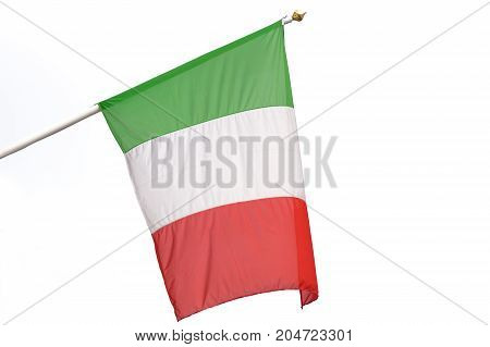 Flag of Italy waving on a white background