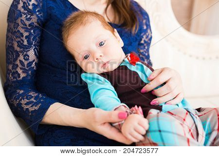 bright portrait of adorable baby boy indoors
