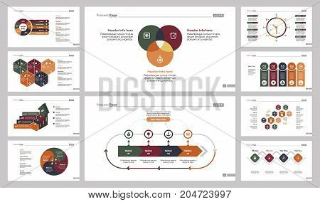 Infographic design set can be used for workflow layout, diagram, annual report, presentation, web design. Business and research concept with process, Venn, timing, pie, bar and percentage charts.